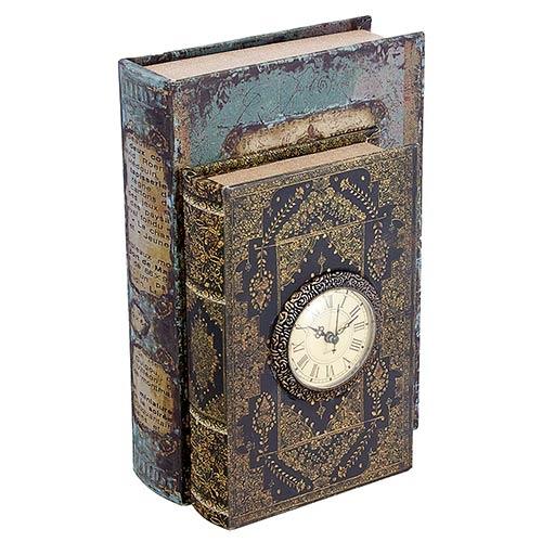 Book Box Duplo c/ Relógio Oldway - 30x21x12cm