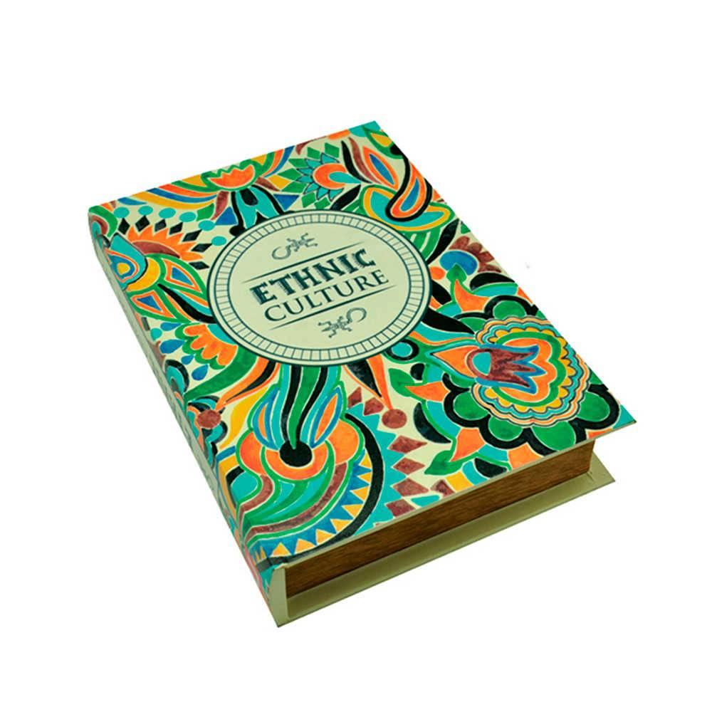 Book Box Ethnic Colorido em Madeira - Urban - 26x18 cm