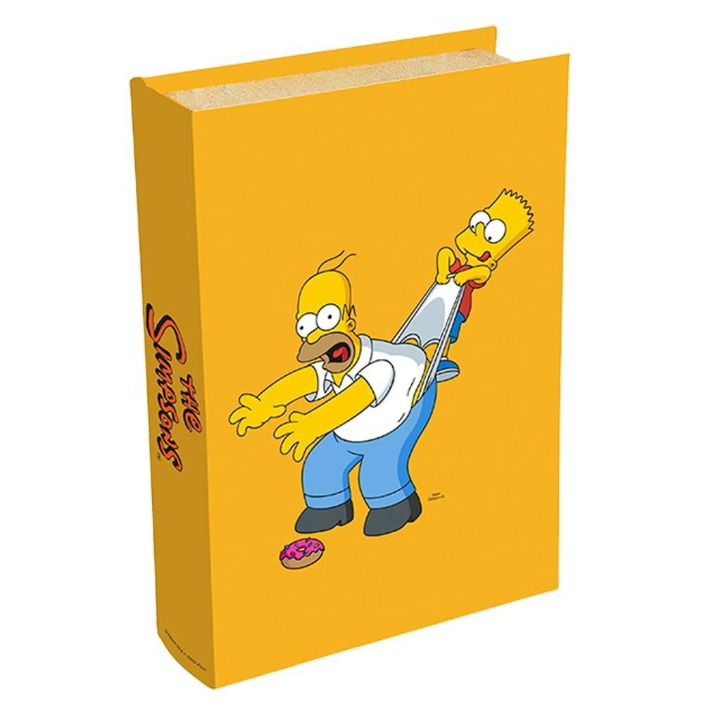 Book Box Homer e Bart Simpson - Fundo Amarelo - The Simpsons - em Madeira - 24x16 cm