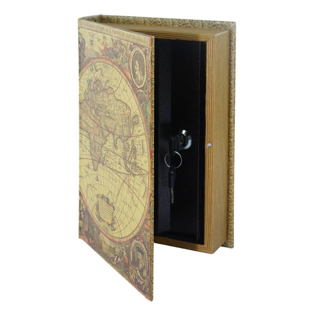 Book Box Mapa Mundi Sépia com Chave em Madeira - 26x17 cm