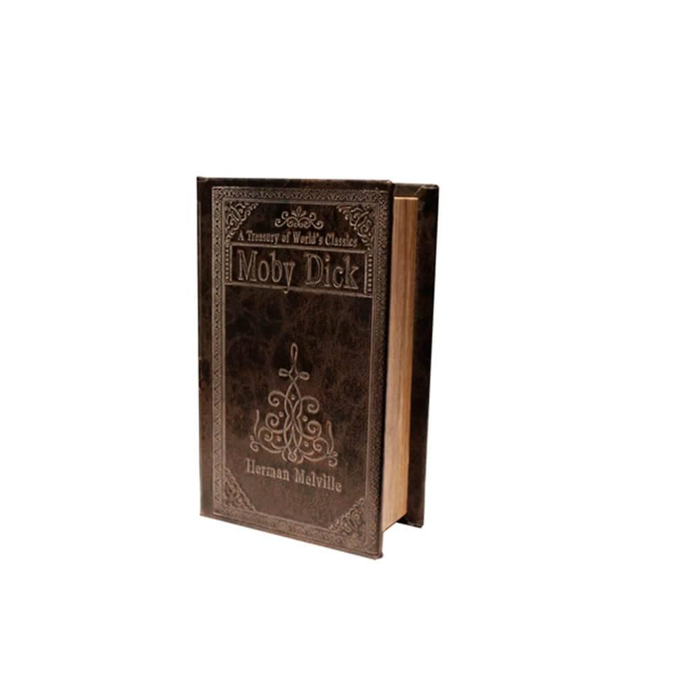 Book Box Moby Dick Marrom em Madeira com Revestimento em Couro Sintético - 17x10 cm