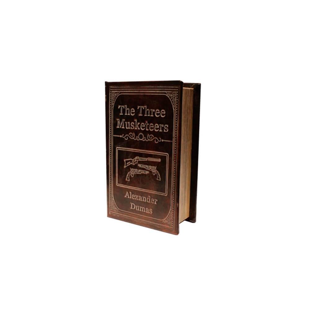 Book Box Os Três Mosqueteiros Marrom em Madeira com Revestimento em Couro Sintético - 17x10 cm