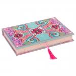 Book Box para Anéis Amor de Pixel Flor Colorido em Madeira Revestida em Tecido - 27x19 cm