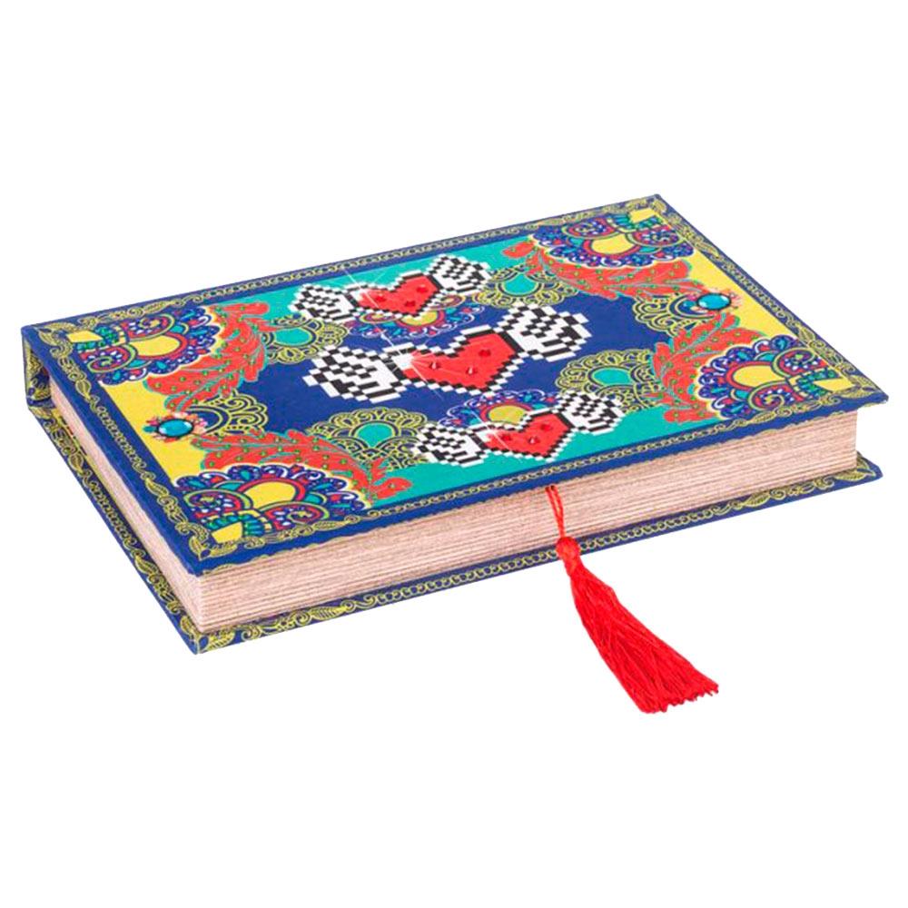 Book Box Amor de Pixel Heart Colorido em Madeira Revestida em Tecido - 27x19 cm