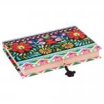 Book Box para Anéis Patchwork Colorida em Madeira Revestida em Tecido - 27x19 cm