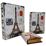 Book Box Paris Conjunto 3 Peças Oldway - 35x26x8cm