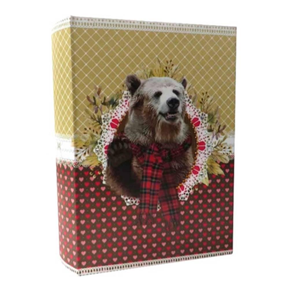 Book Box Pet Pop Urso Colorido em Tecido - 30x20 cm