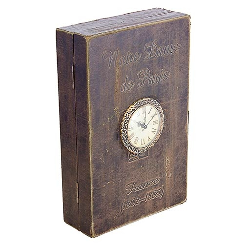 Book Box Porta Chave Parede com Relógio Oldway - 33x22x9cm