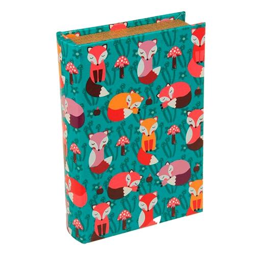 Book Box Raposinhas Fundo Verde em Madeira - 24x15 cm
