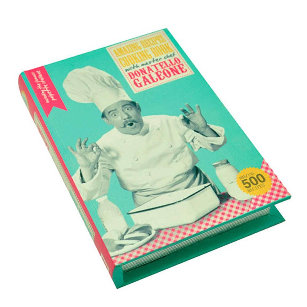 Book Box Recipe Book Colorido em Madeira - Urban - 26x18 cm