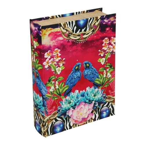 Book Box Tropical Arara em Madeira - 30x20 cm