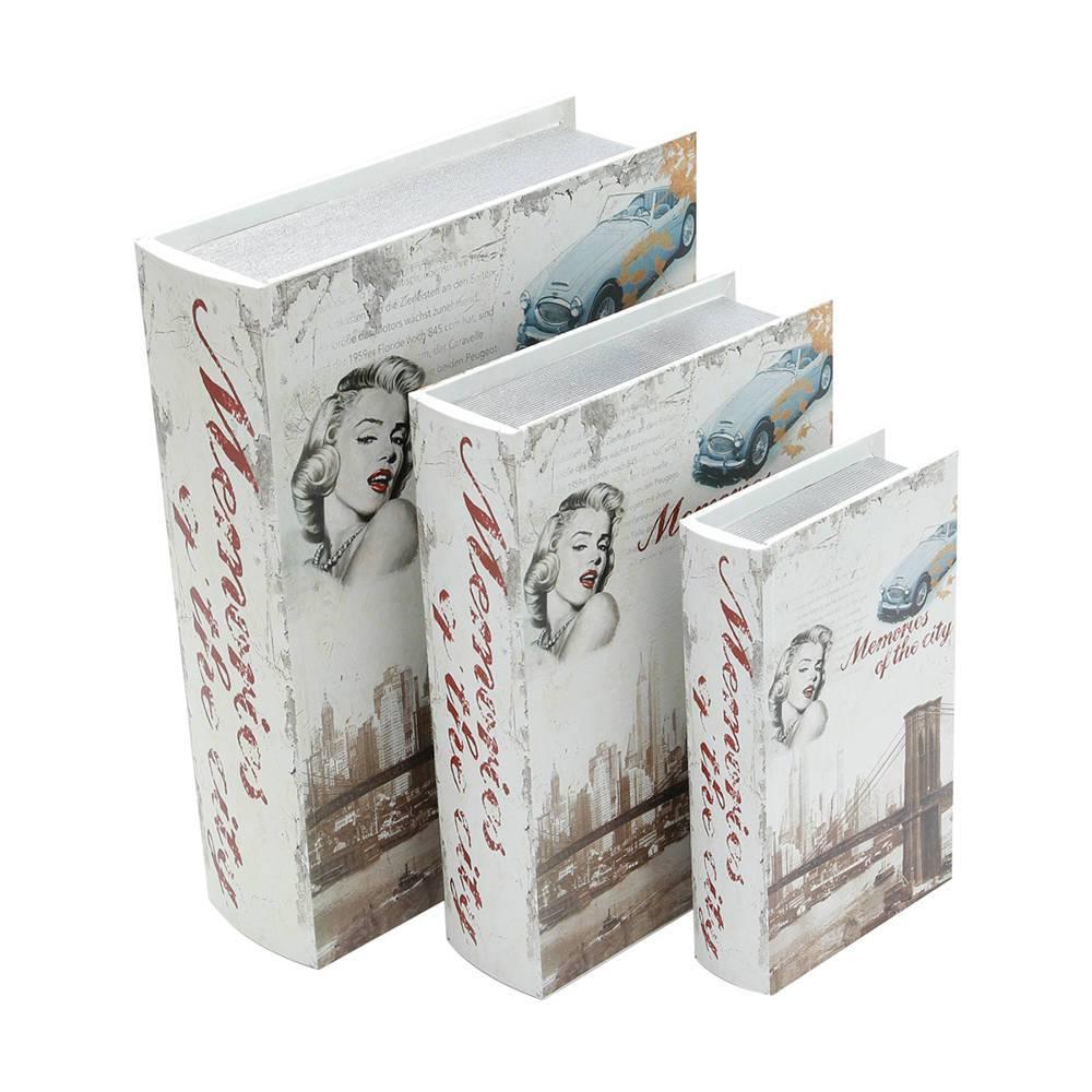 Book Boxes Extraordinary Audrey - 3 Peças - em Canvas e Madeira - 35,5x24 cm