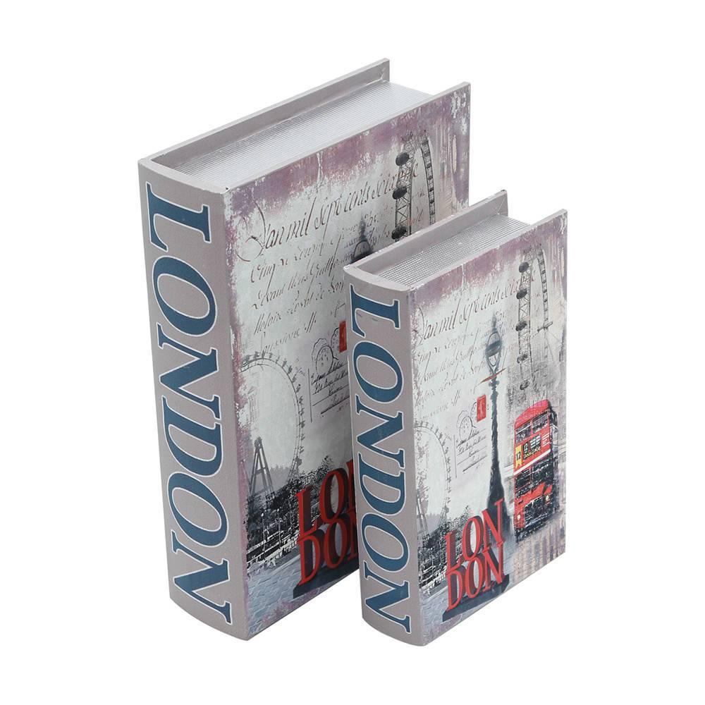 Book Boxes London - 2 Peças - em Madeira e Canvas - 29,5x22 cm