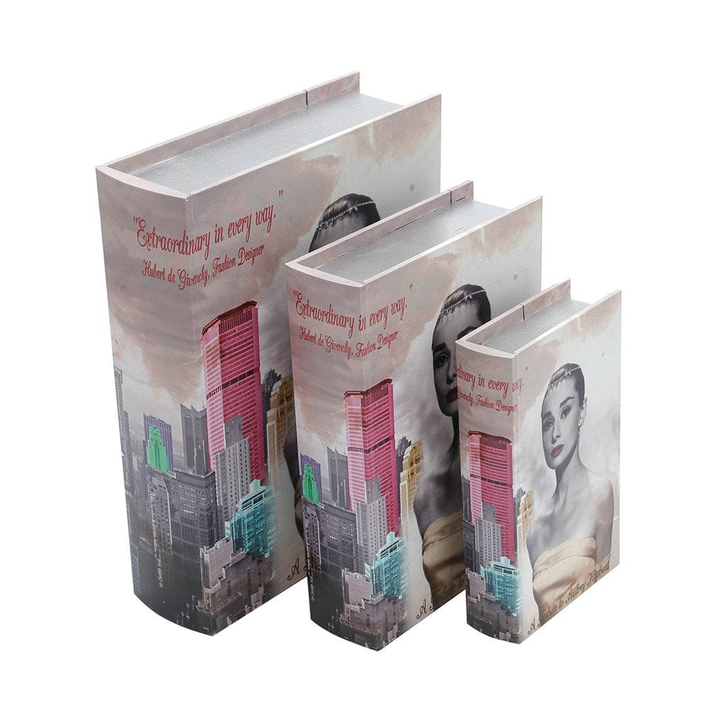 Book Boxes Memories of The City - 3 Peças - em Madeira e Canvas - Prestige - 35,5x29,5 cm