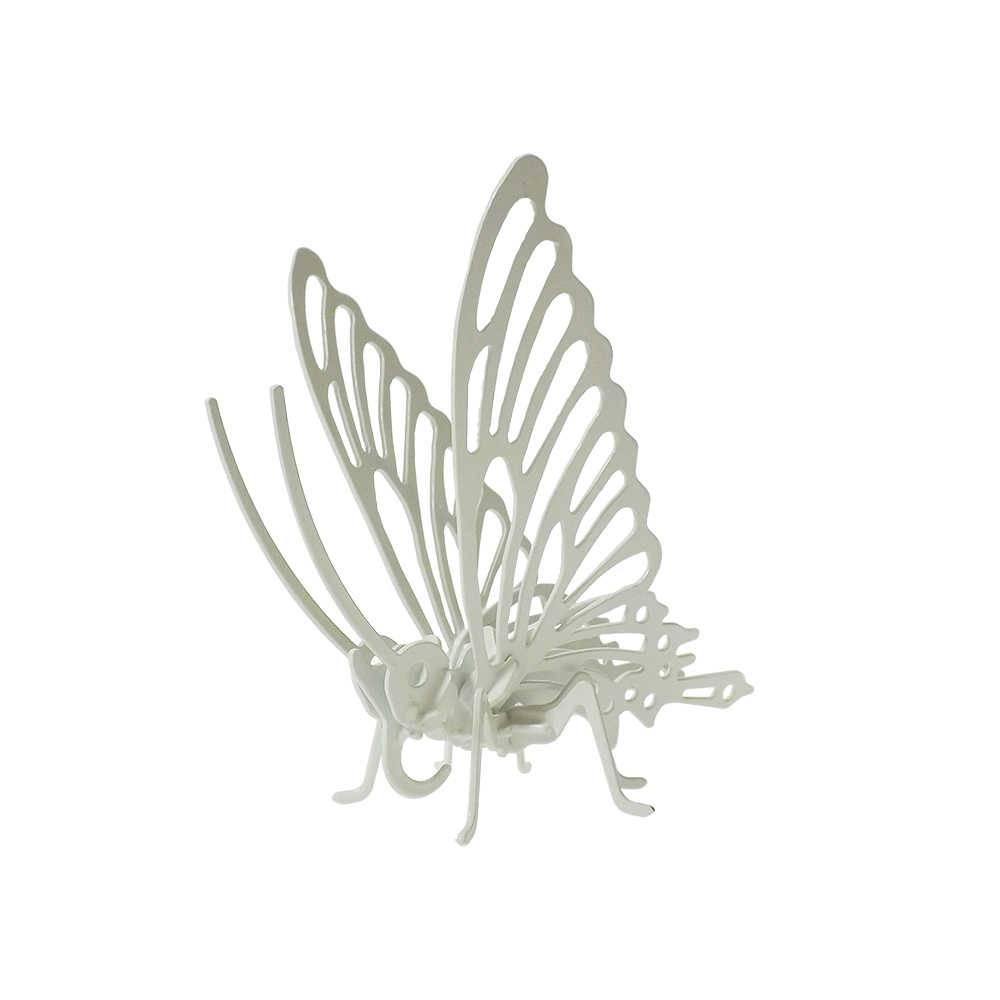 Borboleta Decorativa 3D Branca em Metal - 16x16 cm