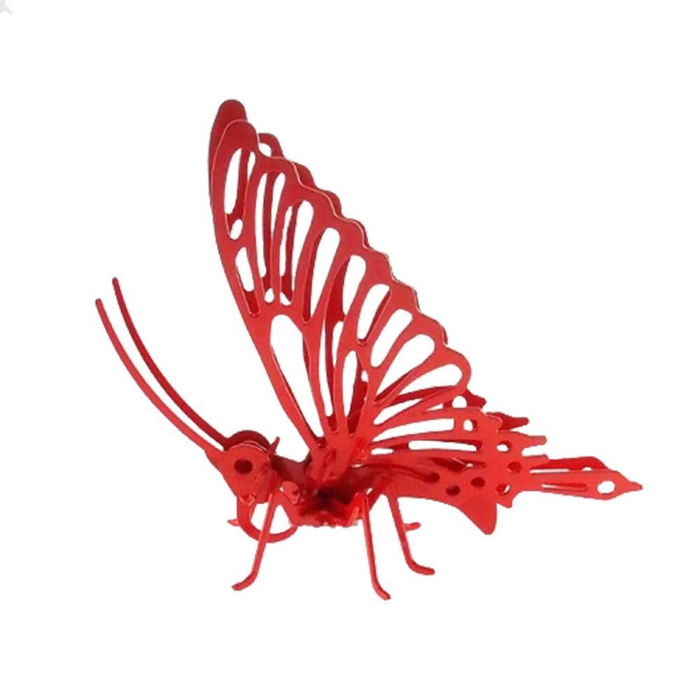 Borboleta Decorativa 3D Vermelha Grande em Metal - 16x16 cm