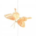 Borboleta Decorativa Laranja e Dourado em Tecido - 10x10 cm