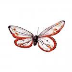 Borboleta Decorativa Laranja em Tecido - 10x10 cm