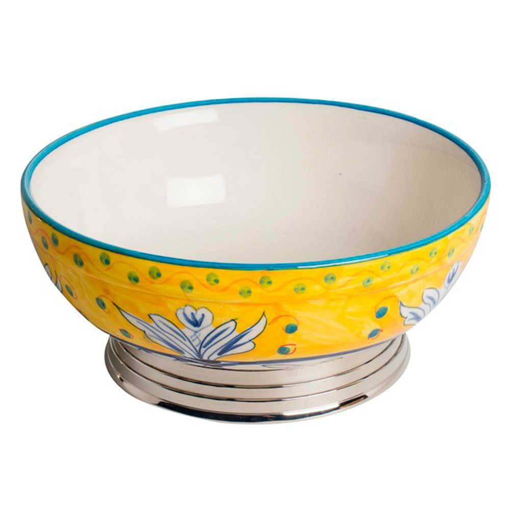 Bowl Fragose Amarelo Pintado à Mão em Aço Inox e Cerâmica - Médio - 26x26 cm