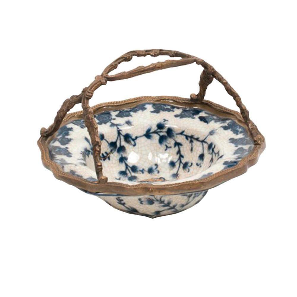 Bowl Cambui Flores Azuis com Alça Bronze em Porcelana - 16x16 cm