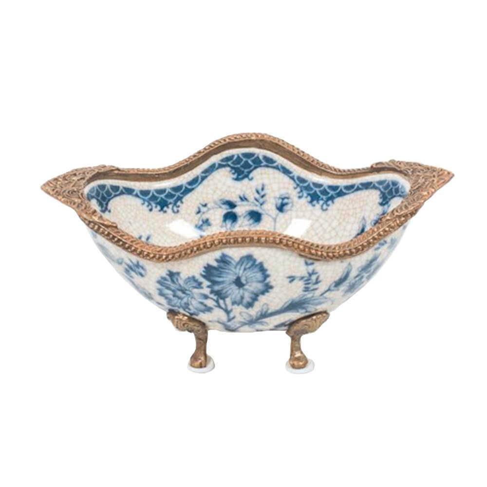 Bowl Chillea Azul e Branco com Pés Bronze em Porcelana - 18x11 cm