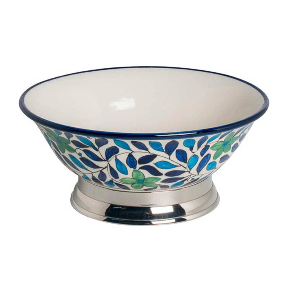 Bowl Flores Azuis e Verdes em Cerâmica e Aço Inox - 30x30 cm