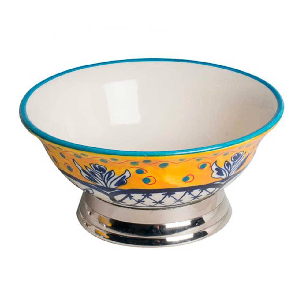 Bowl Fragose Amarelo Pintado à Mão em Aço Inox e Cerâmica - Pequeno - 21x21 cm