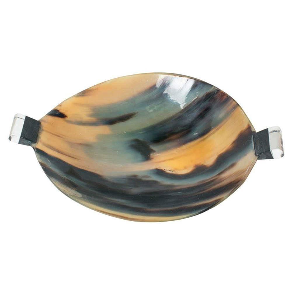 Bowl Mesclado Marrom e Azul com Alças em Chifre - 28x28 cm