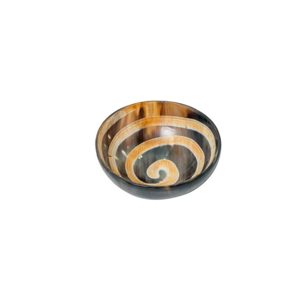 Bowl Rotate Lines Arredondado Marrom e Bege em Chifre - 10x10 cm