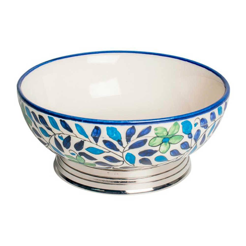 Bowl Stuth Azul e Verde em Cerâmica e Aço Inox - 26x26 cm