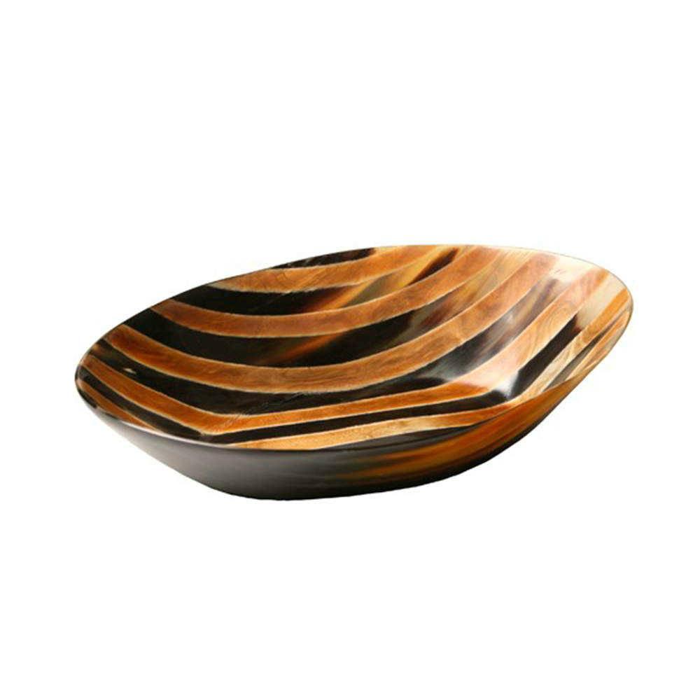 Bowl Tigresa Marrom e Bege em Chifre - 25x16 cm
