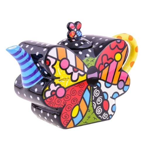 Bule Butterfly - Romero Britto - em Cerâmica - 29x18 cm