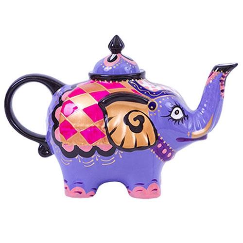 Bule Decorativo Elefante Roxo em Cerâmica - 23x17 cm