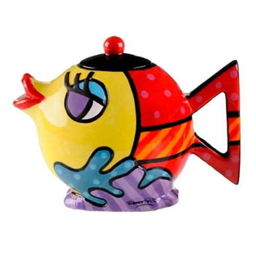 Bule Fish - Romero Britto - em Cerâmica - 14x10 cm