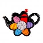 Bule Flower Pequeno - Romero Britto - em Cerâmica - 14x10 cm