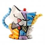 Bule Gato Feliz - Romero Britto - em Cerâmica - 25x19 cm