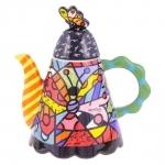Bule Round Butterfly - Romero Britto - em Cerâmica - 25x24 cm