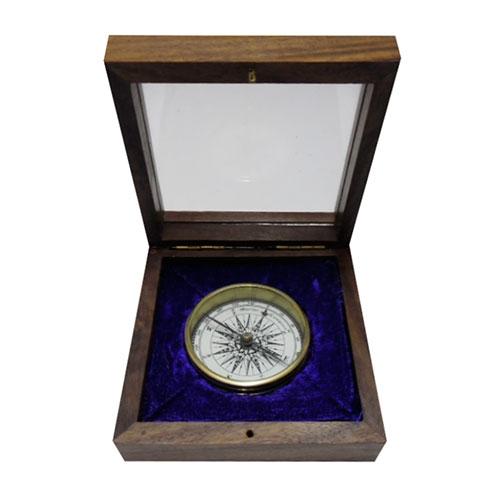 Bússola de Bolso Médio em Metal c/ Caixa de Madeira - 10x10 cm