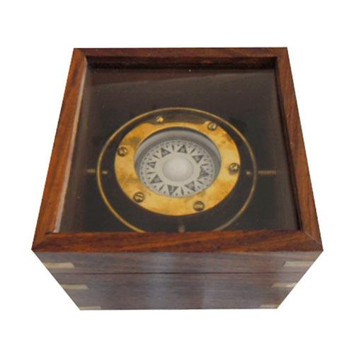 Bússola Decorativa c/ Caixa em Madeira Grande - 12x12 cm