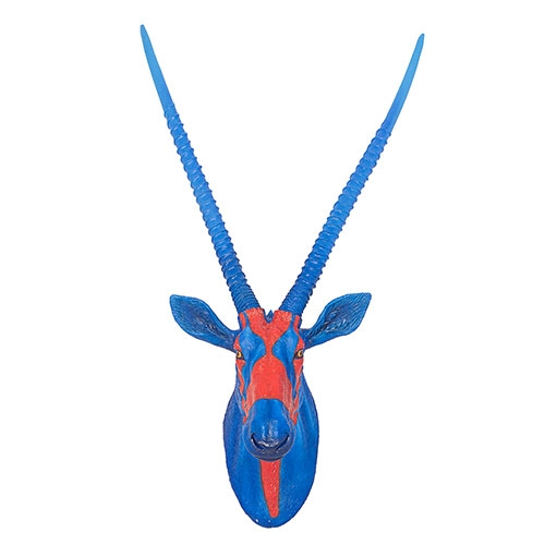 Cabeça de Antílope em Resina Blue/Orange Fullway - 99x55 cm