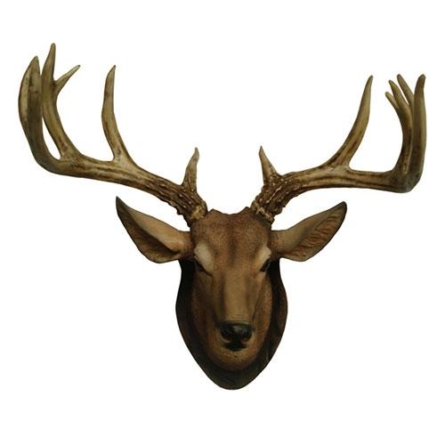 Cabeça de Cervo c/ Galhada Grande em Resina - Oldway - 63x56 cm