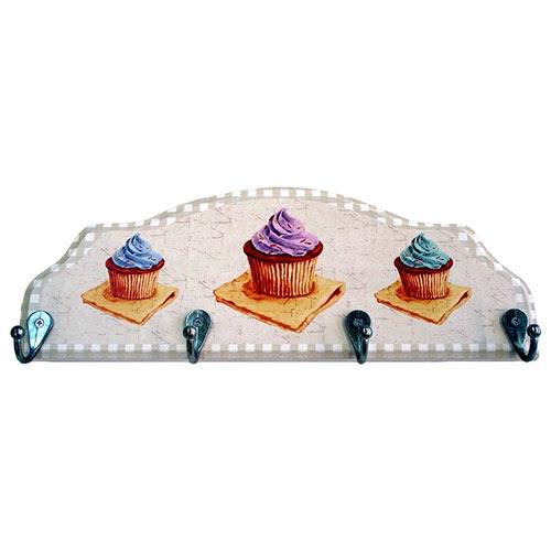 Cabideiro 3 Cupcakes em Madeira - 4 Ganchos - 40x15 cm
