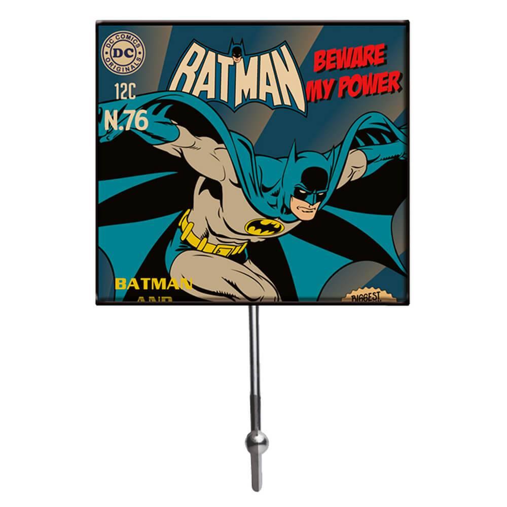 Cabideiro Batman Beware My Powers Azul em Vidro - Urban - 21x13 cm