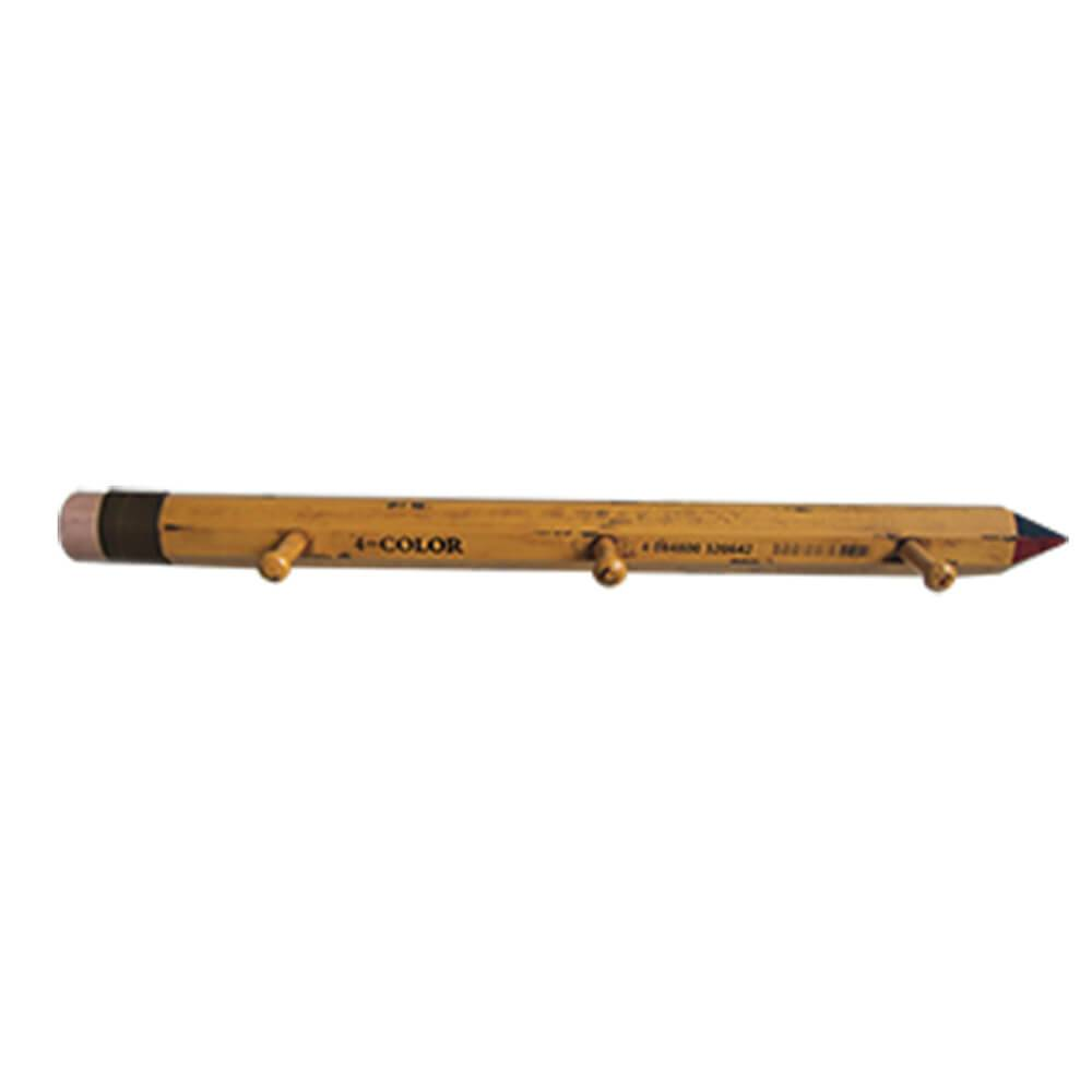 Cabideiro Bic Pencil 3 Ganchos Amarelo em Madeira - Golden Years - Urban - 74x8 cm