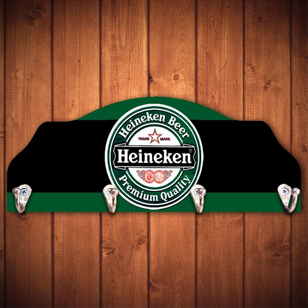 Cabideiro Cerveja Heineken Verde e Preto - 4 Ganchos - em Madeira - 40x15 cm