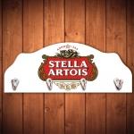 Cabideiro Cerveja Stella Artois Branco - 4 Ganchos - em Madeira - 40x15 cm