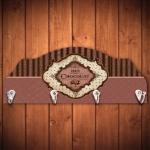 Cabideiro Chocolate Paris Roxo - 4 Ganchos - em Madeira - 40x15 cm