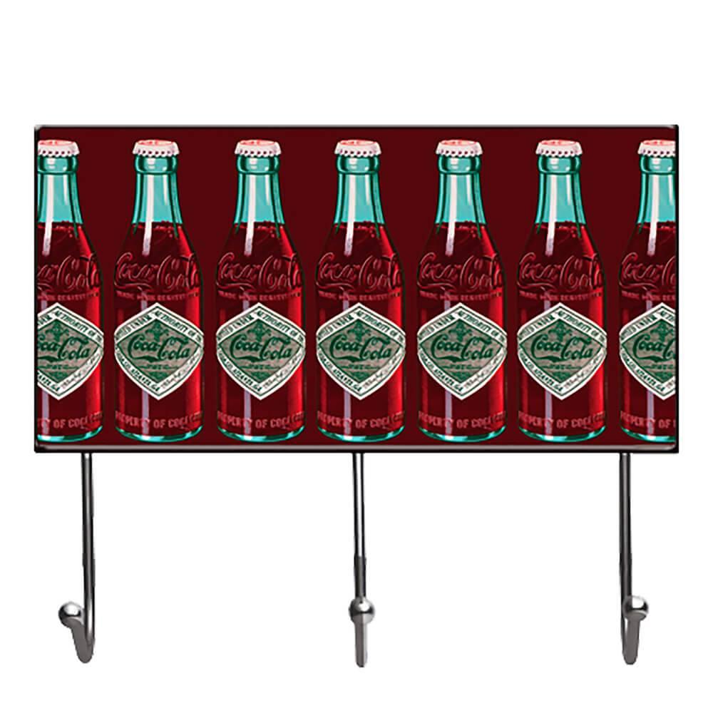 Cabideiro Coca-Cola All Bottles Fundo Verde em Vidro - Urban - 40x23 cm