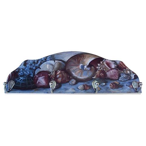 Cabideiro Conchas do Mar em Madeira - 4 Ganchos - 40x15 cm