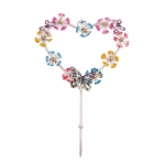 Cabideiro Coração Revestido de Flores Coloridas - 1 Gancho - em Metal - 26x17 cm